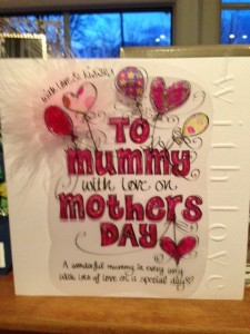 Photo of QT's Mothers Day card